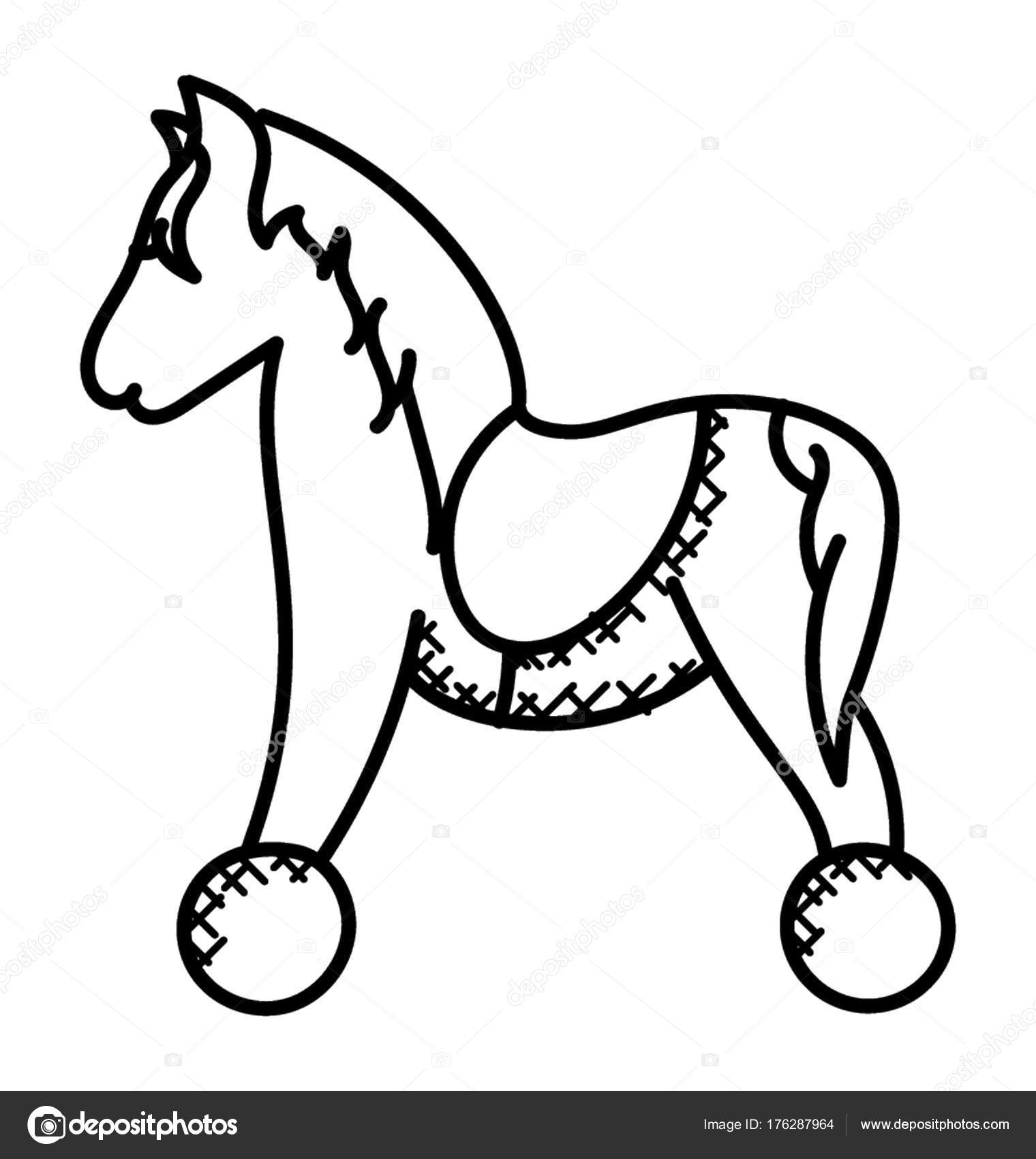 Hand Drawn Toy Horse Fun Stock Vector C Creativestall 176287964