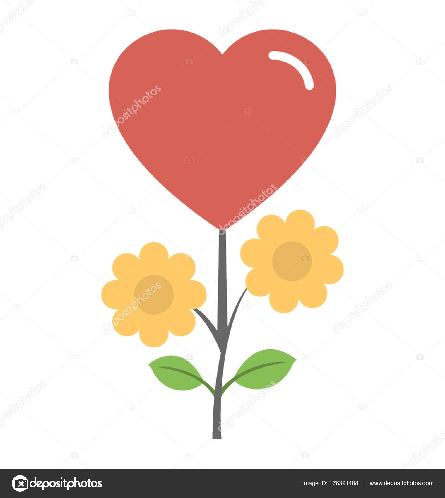 Flor En Forma De Corazón Una Flor Amante Icono Plano Flores Forma