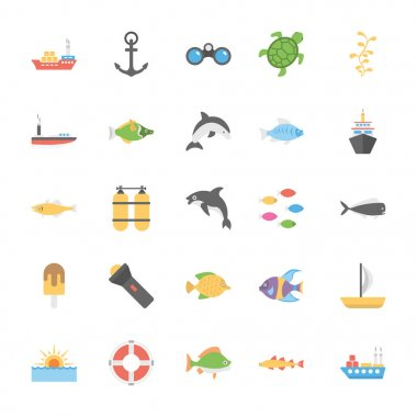 Icons Pack Of Ocean and Sea Life