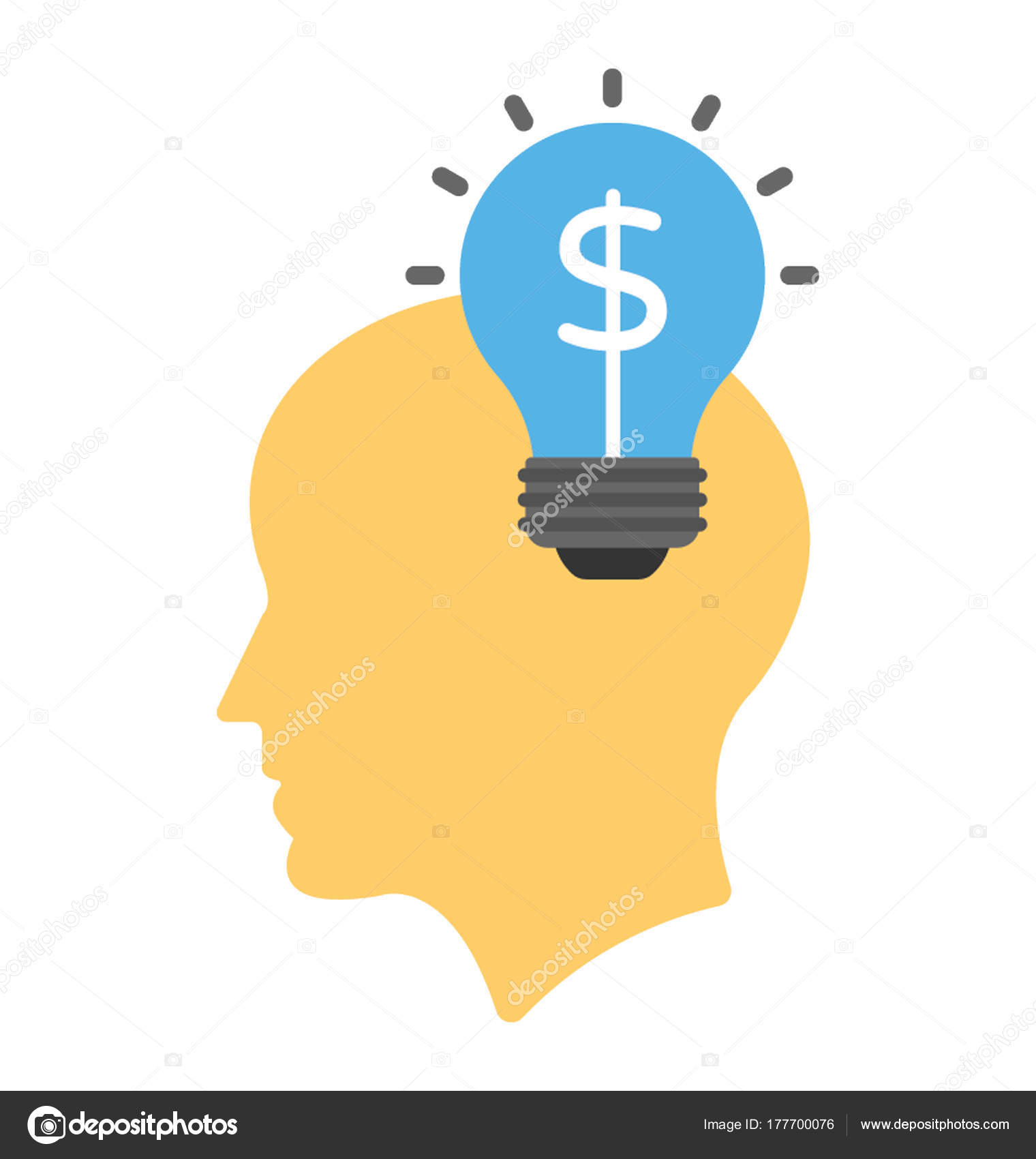 A Person With Lightbulb And Dollar Sign In It Showing Marketing Idea Flat Icon Vector By Creativestall