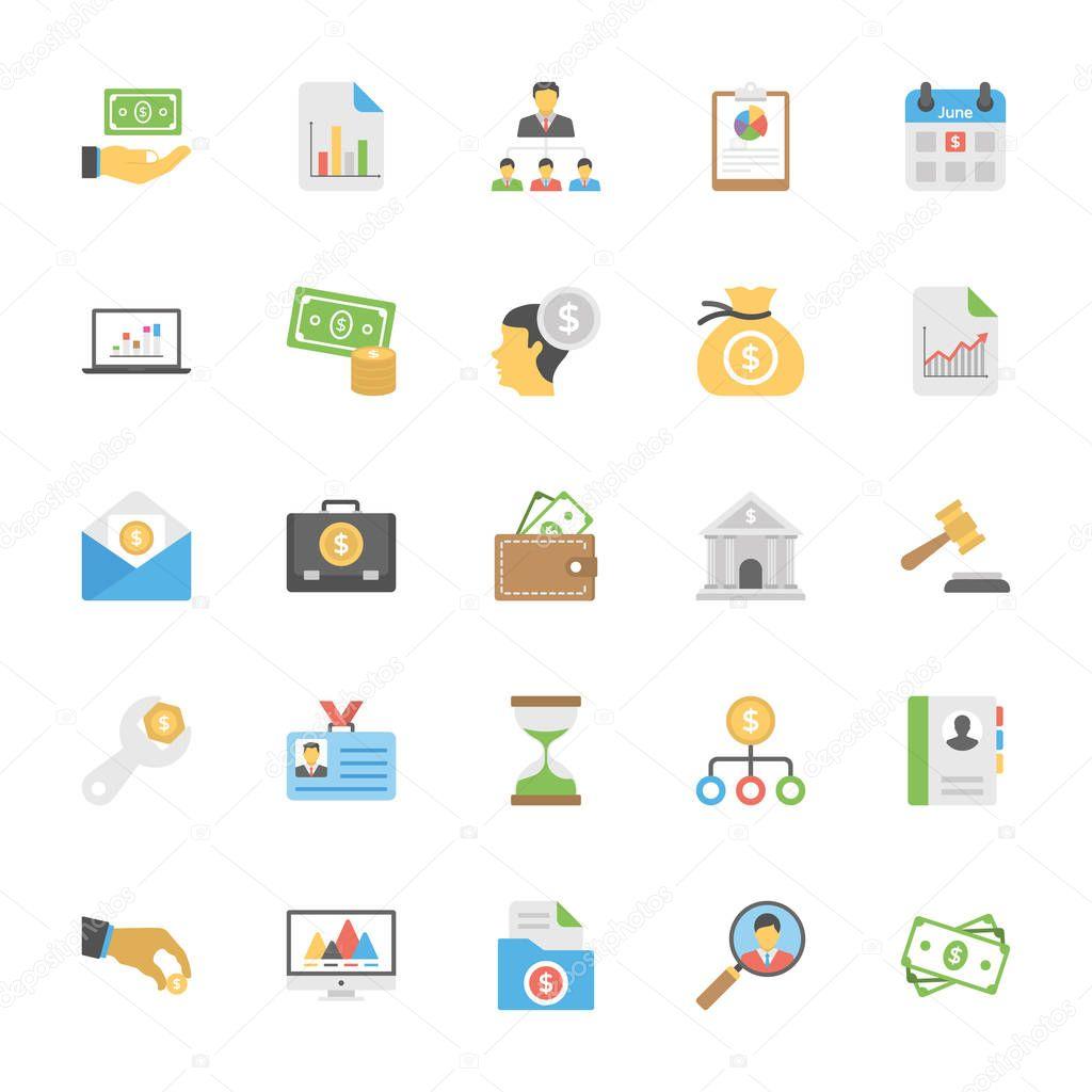 Flat Icons Set of Market and Economics