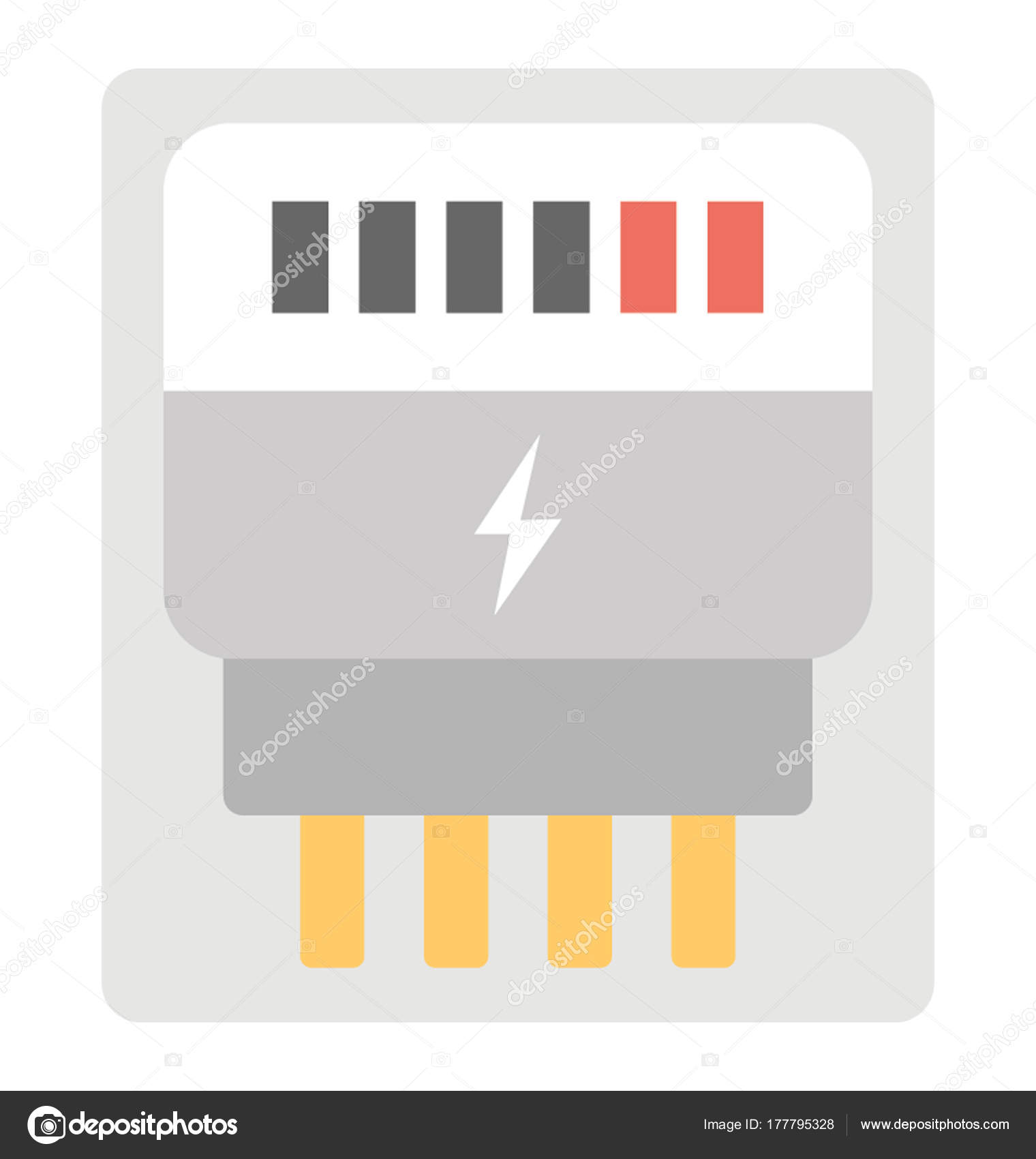 Traditional Old Electric Meter Flat Vector Icon Design — Stock ...