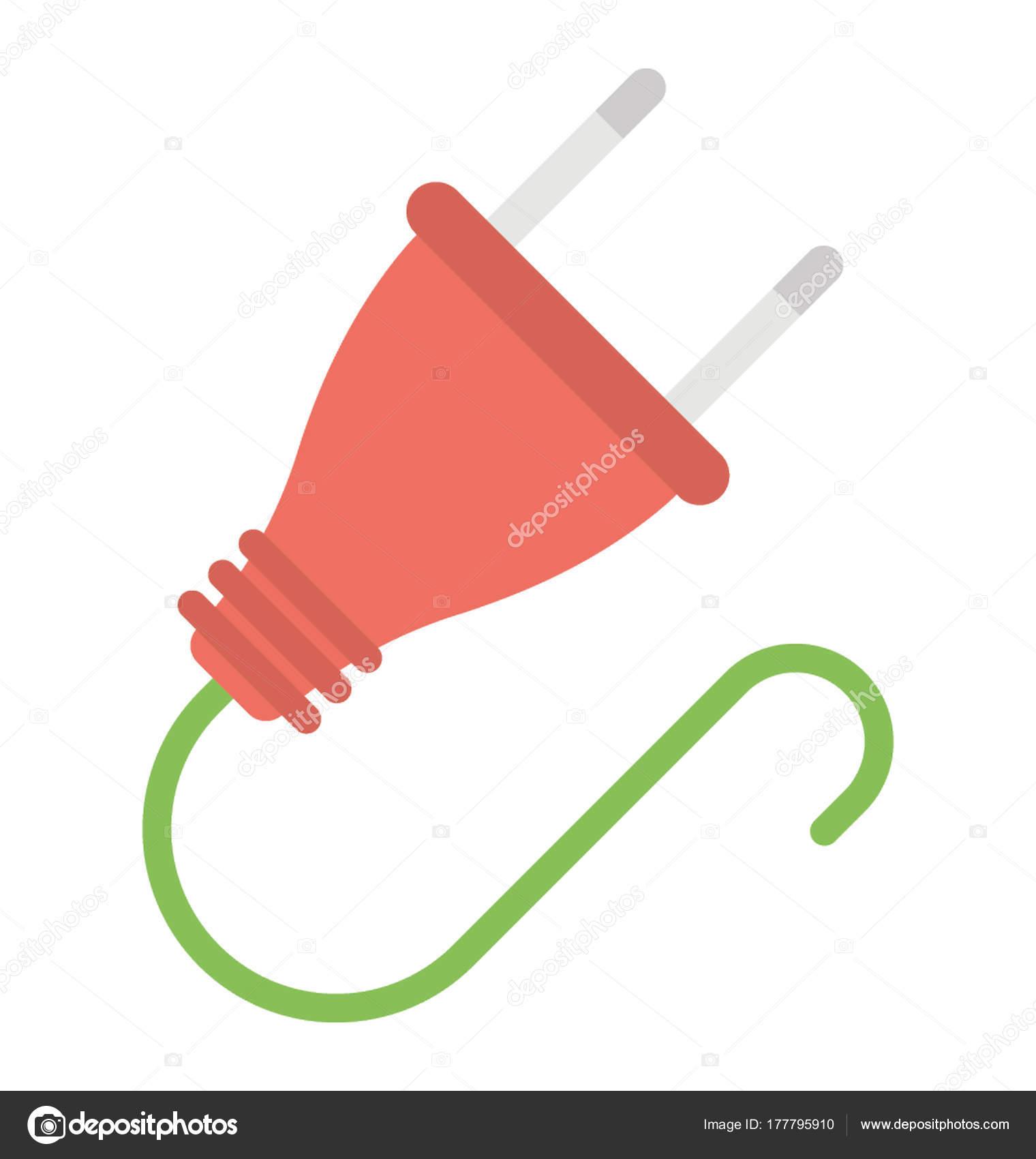 Ein Netzteil Anschließen Stromversorgung Einheit Flach Symbol ...
