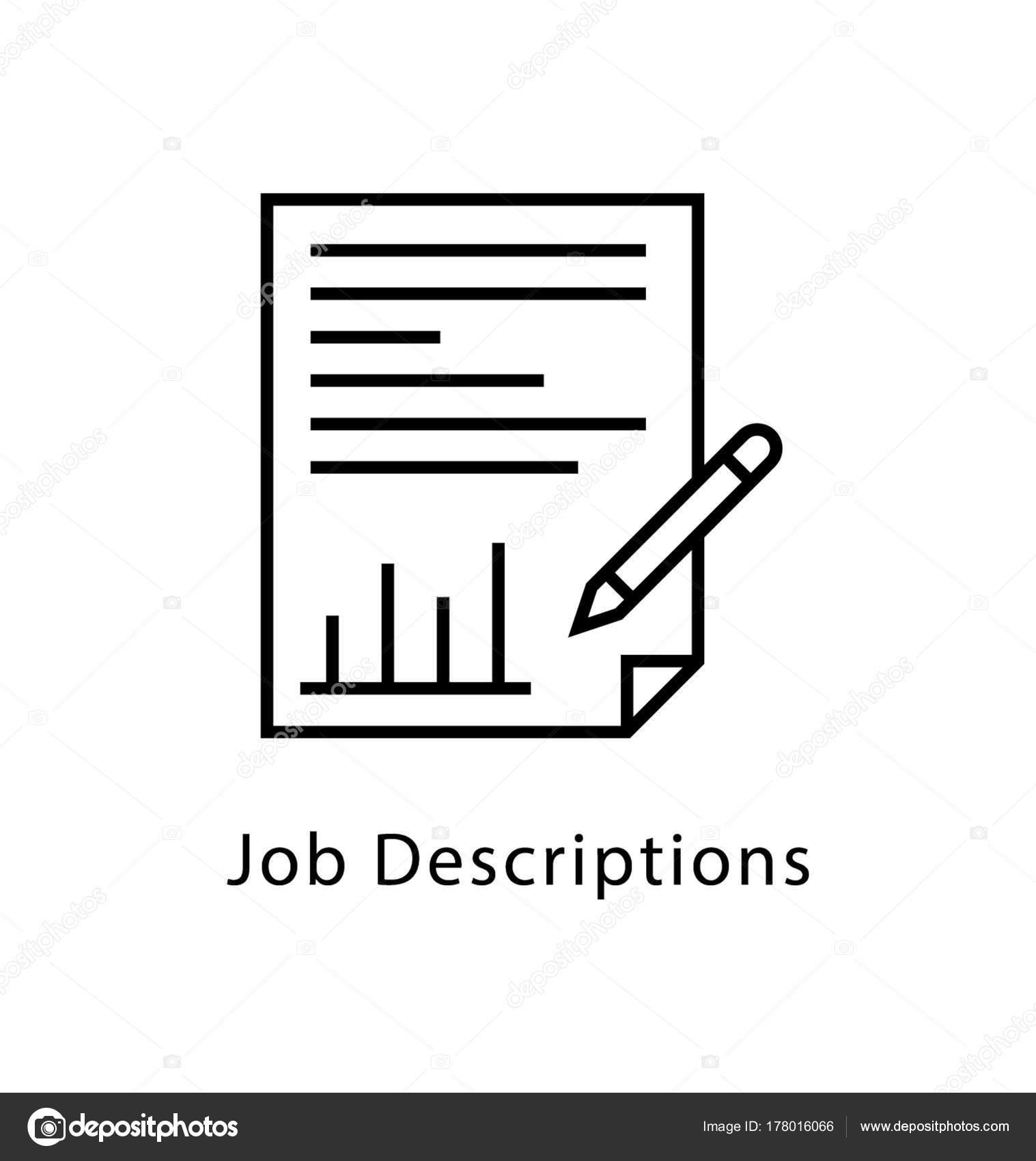 Vector Drawing Lines Job : Job description vector line icon — stock