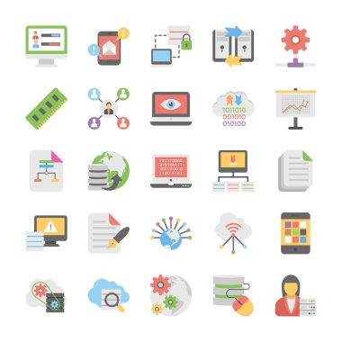 Cloud Computing Coloured Vector Icons Collection