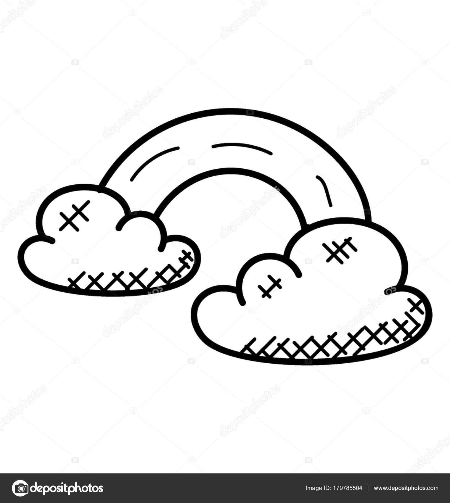 Regenbogen Und Majestätische Wolken Doodle Vektor — Stockvektor ...