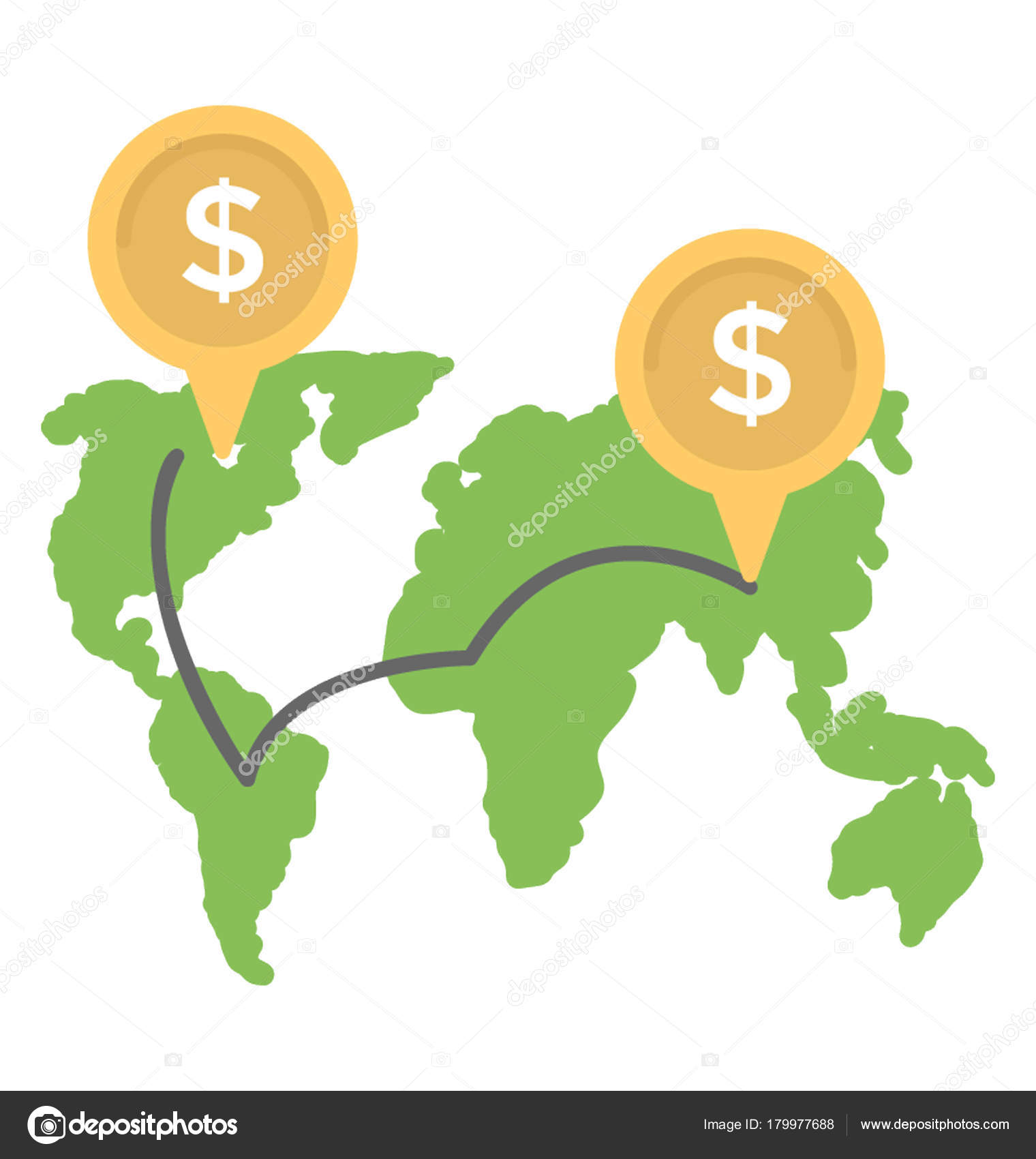 World map dollar sign coins global business banking trade economic world map and dollar sign with coins global business banking trade or economic concept vector flat icon vector by creativestall gumiabroncs Images