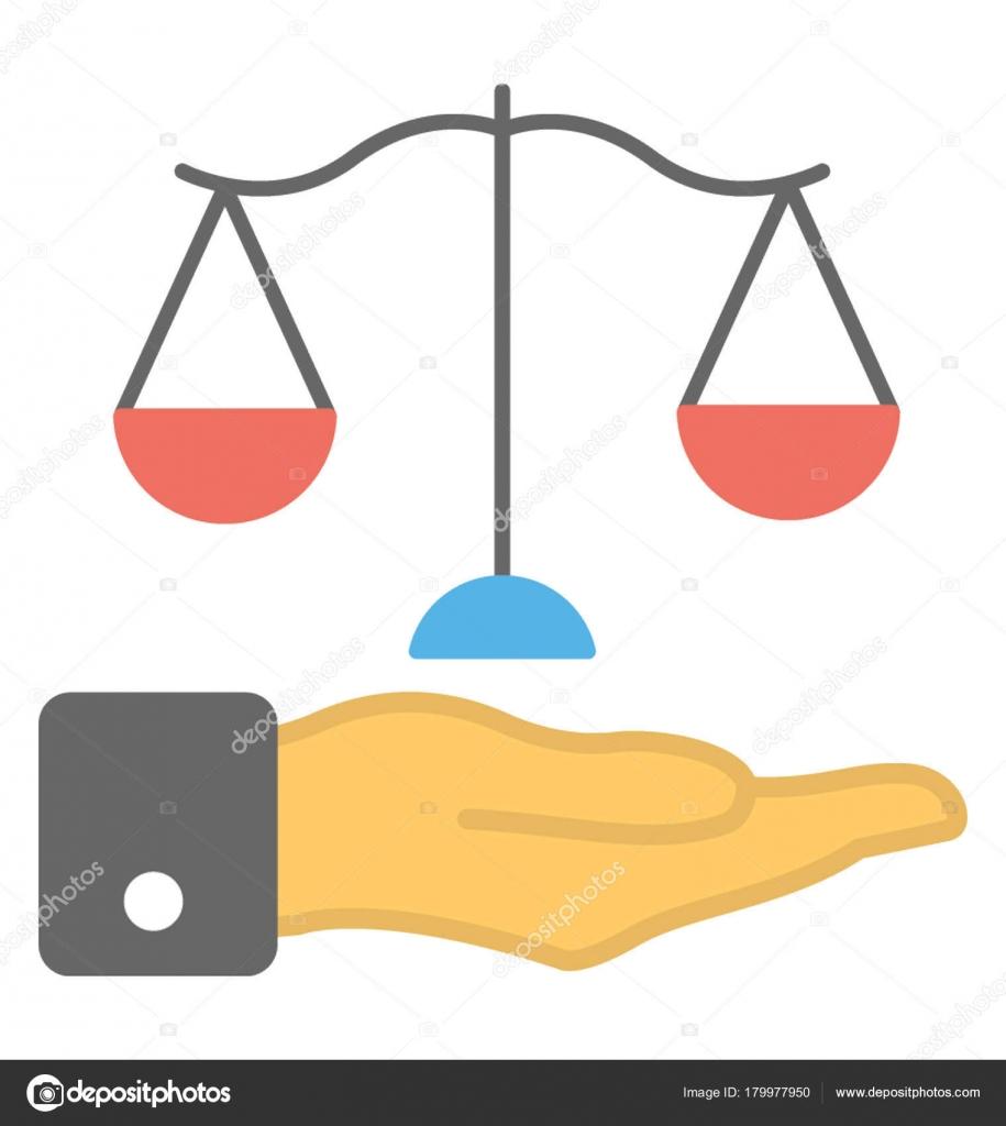 Hand Die Ein Gleichgewicht Skala Balance Konzept Vektor Flache Icon ...