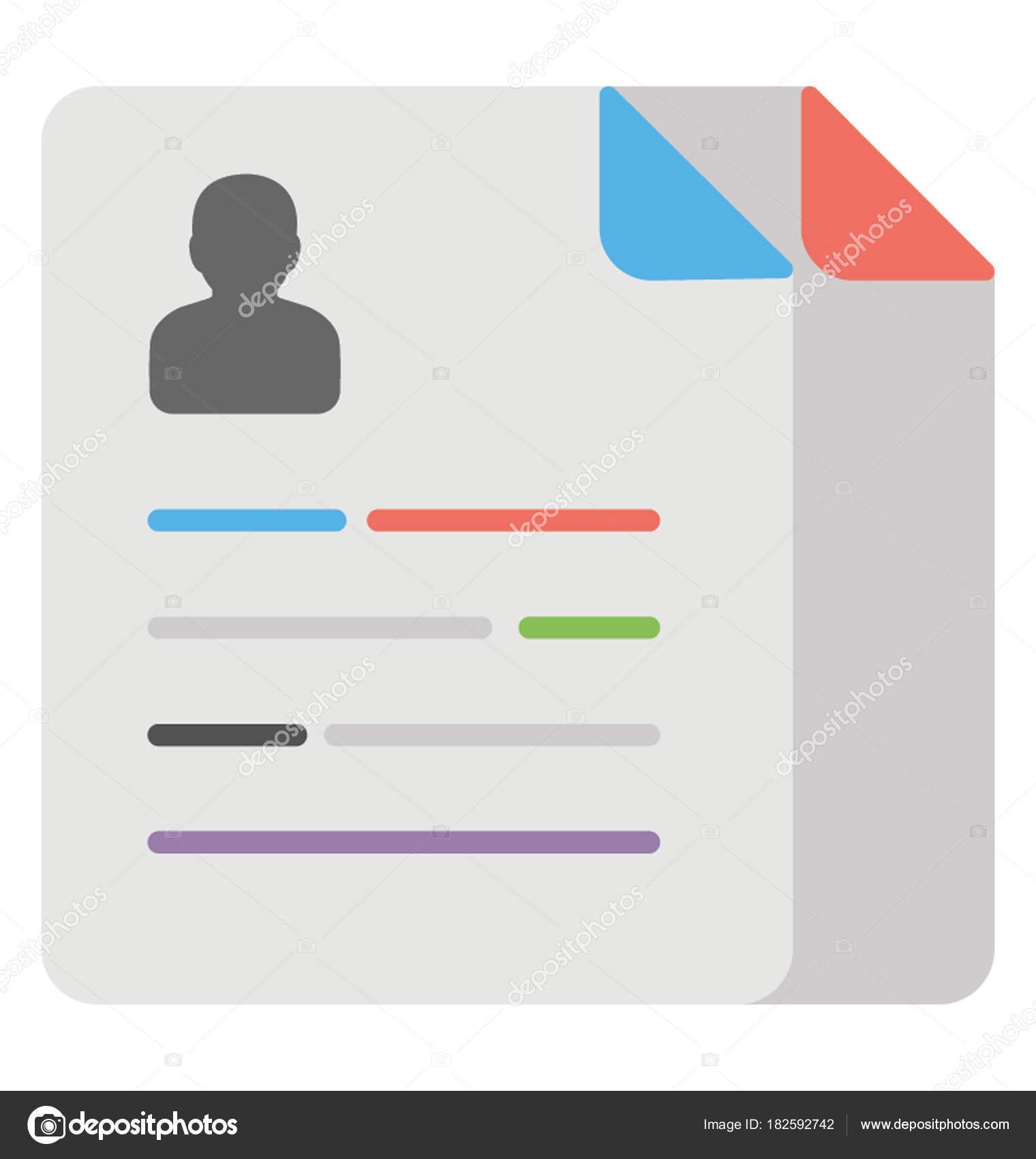 Curriculum Vitae Flat Icon Job Profile Stock Vector
