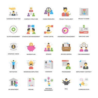 Project Management Vector Icons Collection In Flat Design