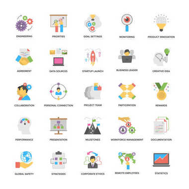 Project Management Flat Vector Icons Pack icon
