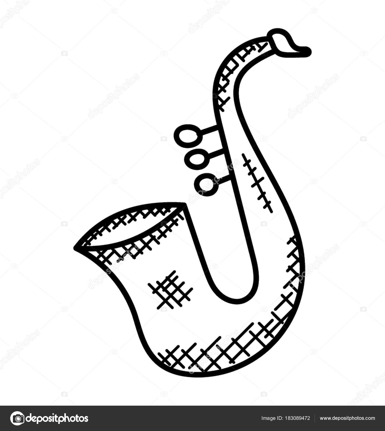 Rucne Vyrabene Jednoduche Kresby Hudebni Nastroj Znamy Jako Saxofon