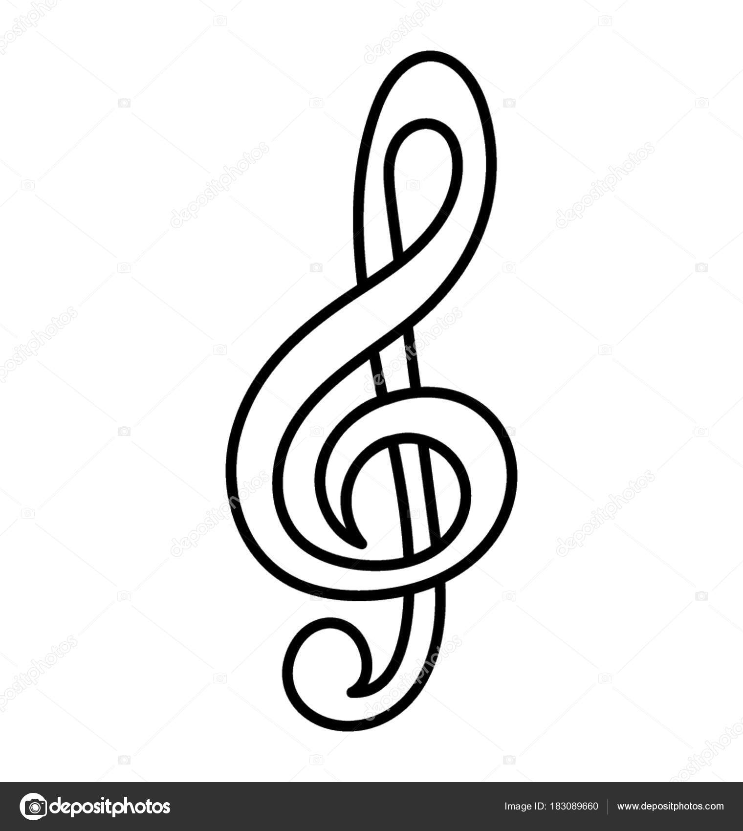Hand Drawn Icon Musical Note Representing Musical Composition