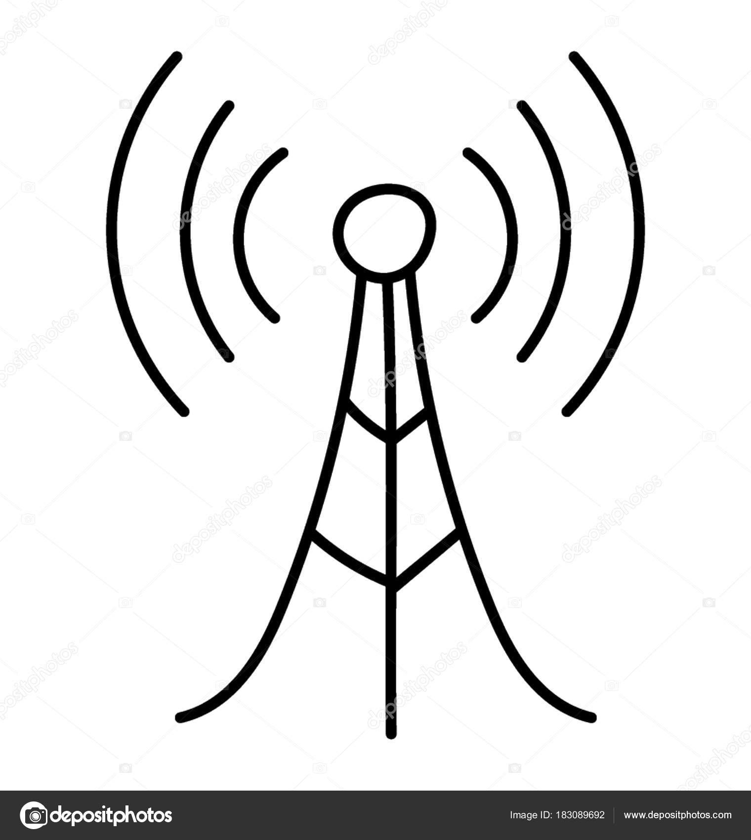 Jednoduche Rucni Kresby Komunikacni Veze Spolu Vln Signal Stock