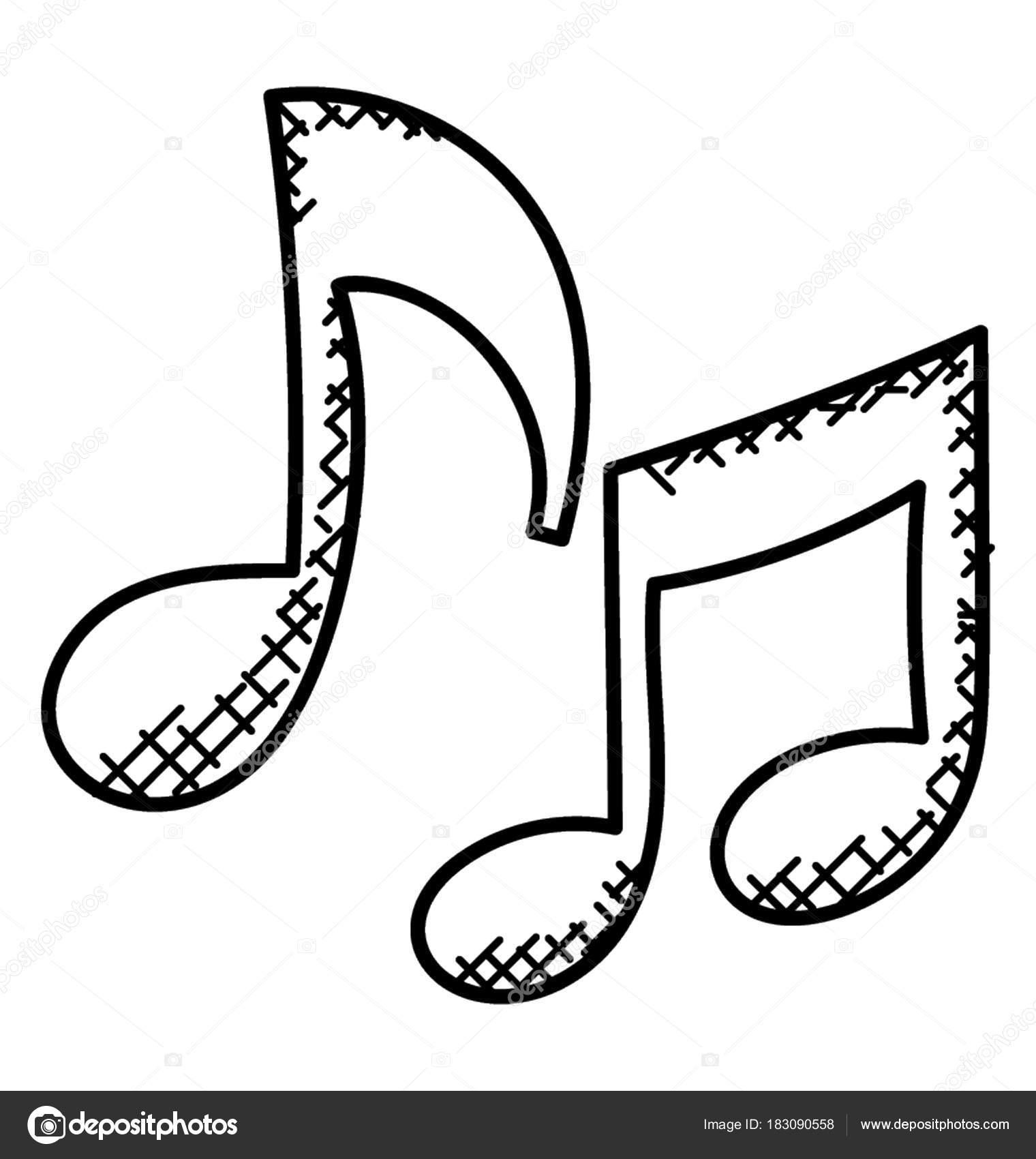 Imágenes: notas musical colorear   Simple Icono Hecho Mano Notas