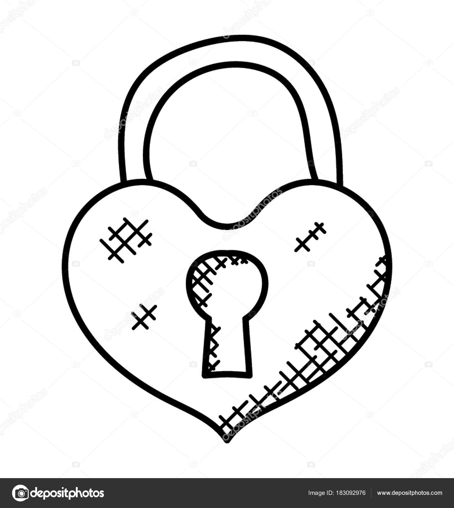 Heart Shaped Lock Keyhole Doodle Vector Stock Vector