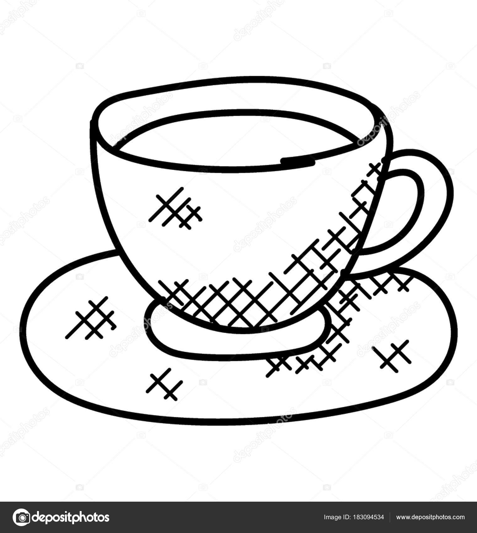 Cup Tea Placed Saucer Doodle Vector Stock Vector C Creativestall