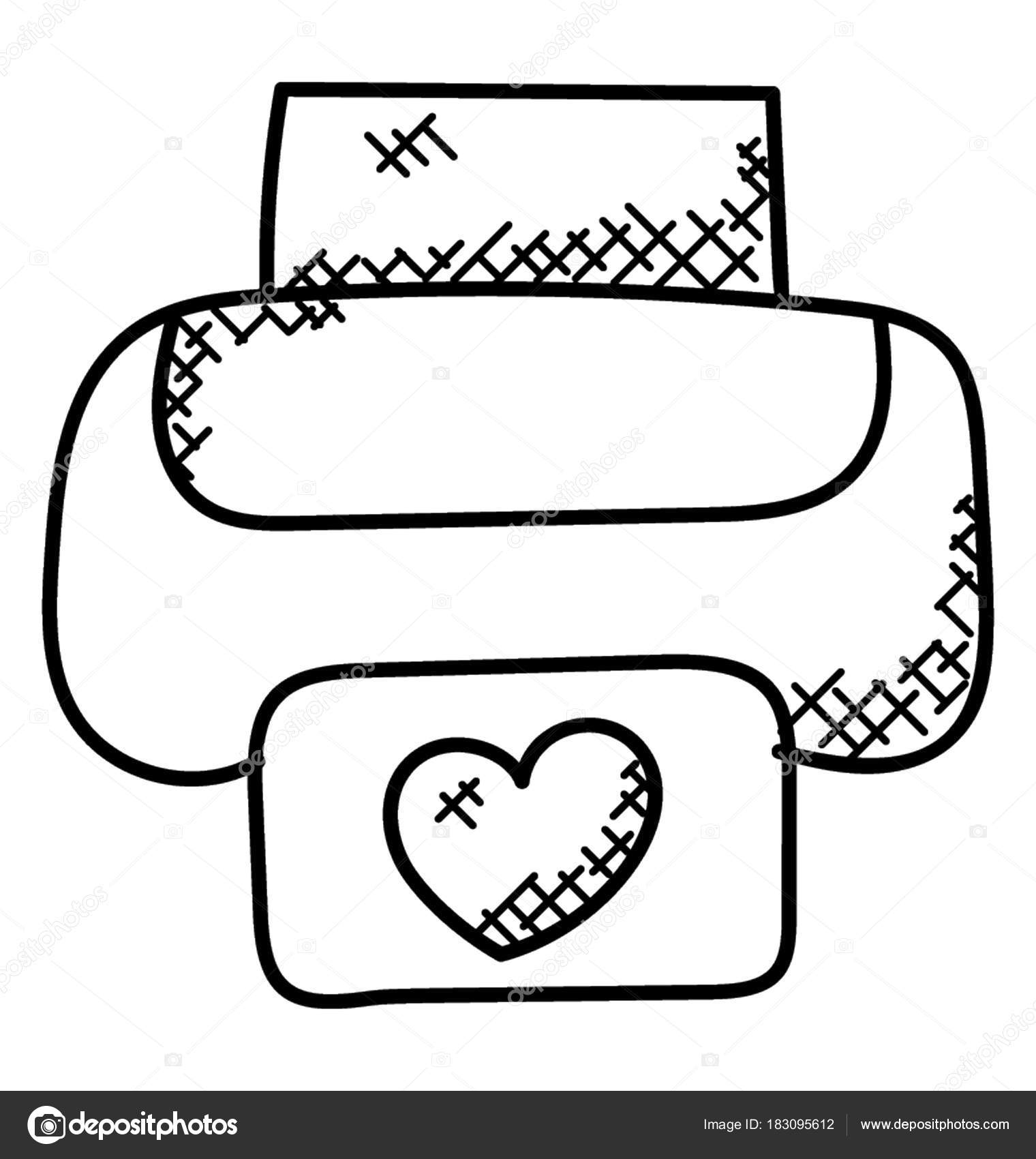 Single Printer Printing Shape Heart Paper Doodle Vector — Stock
