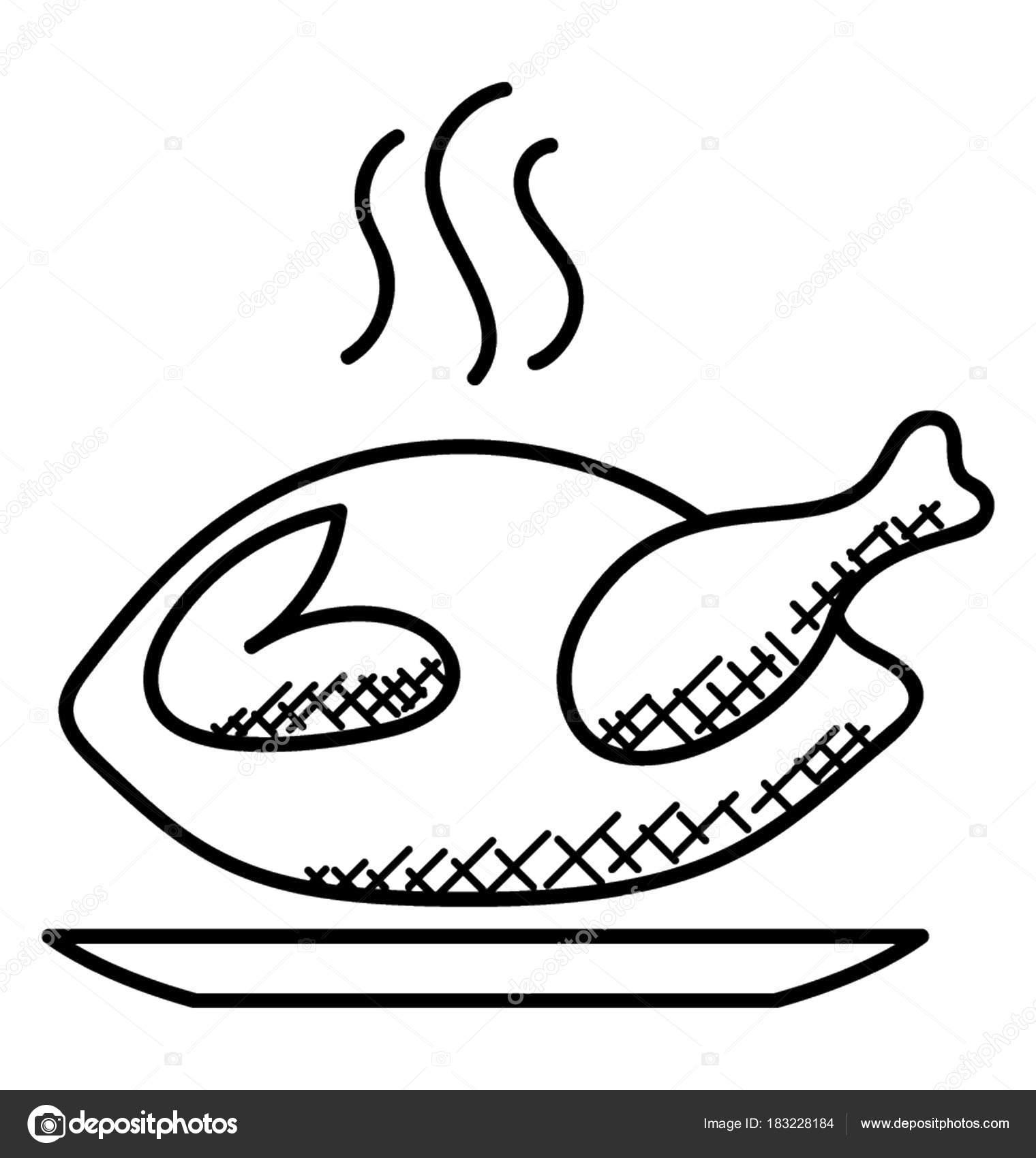 Pollo Entero Asado Pollo Frito Doodle Icono — Vector de stock ...