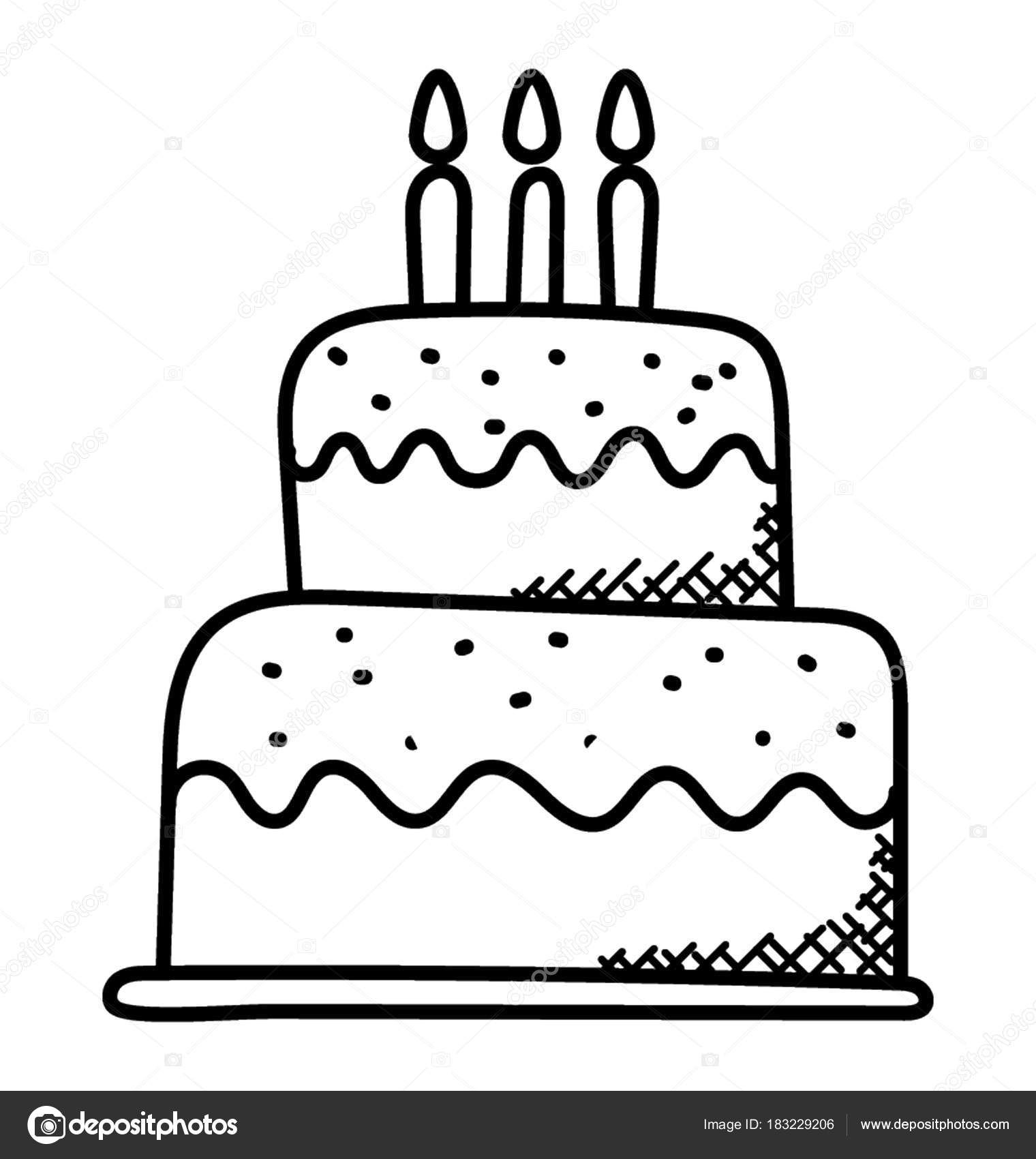 A Beautiful Big Cake With Candles Birthday Concept Doodle Icon Stock Illustration