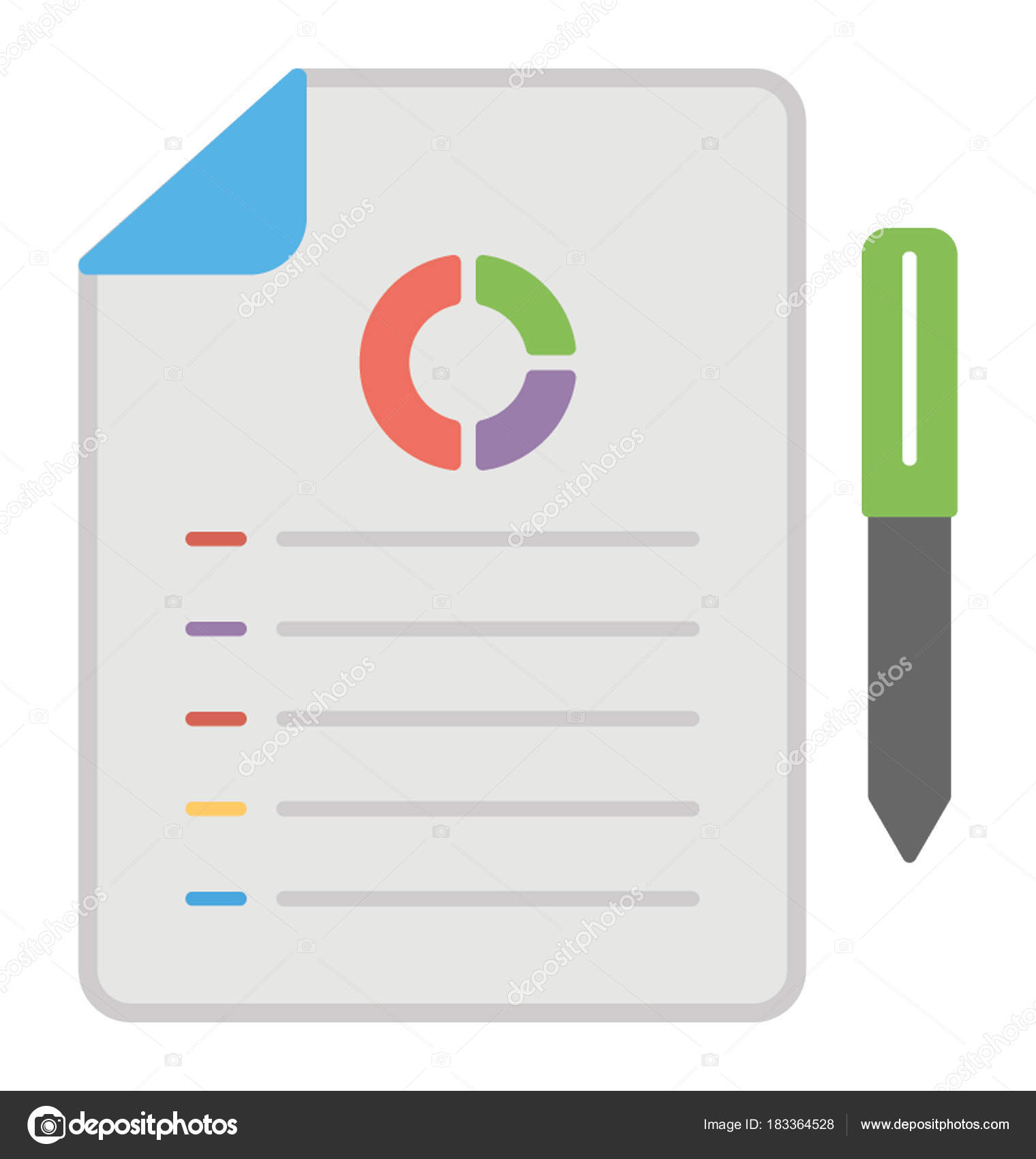 Pie Chart Analysis Flat Design Customer Survey Concept Stock