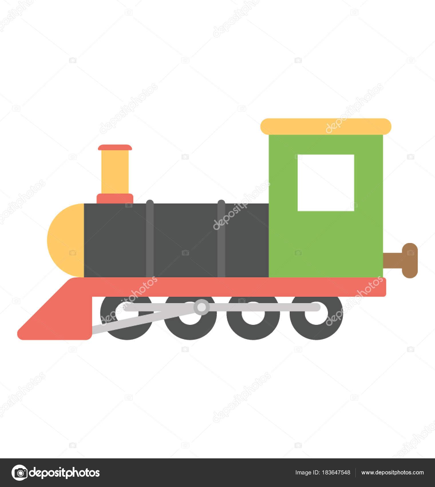 Steam Engine Cartoon Retro Train Train Engine Vector Icon Flat