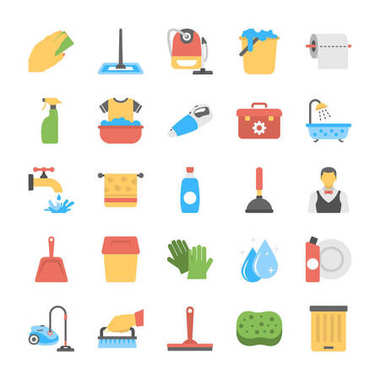 Flat Icon Set of Laundry and Bathroom Cleaners