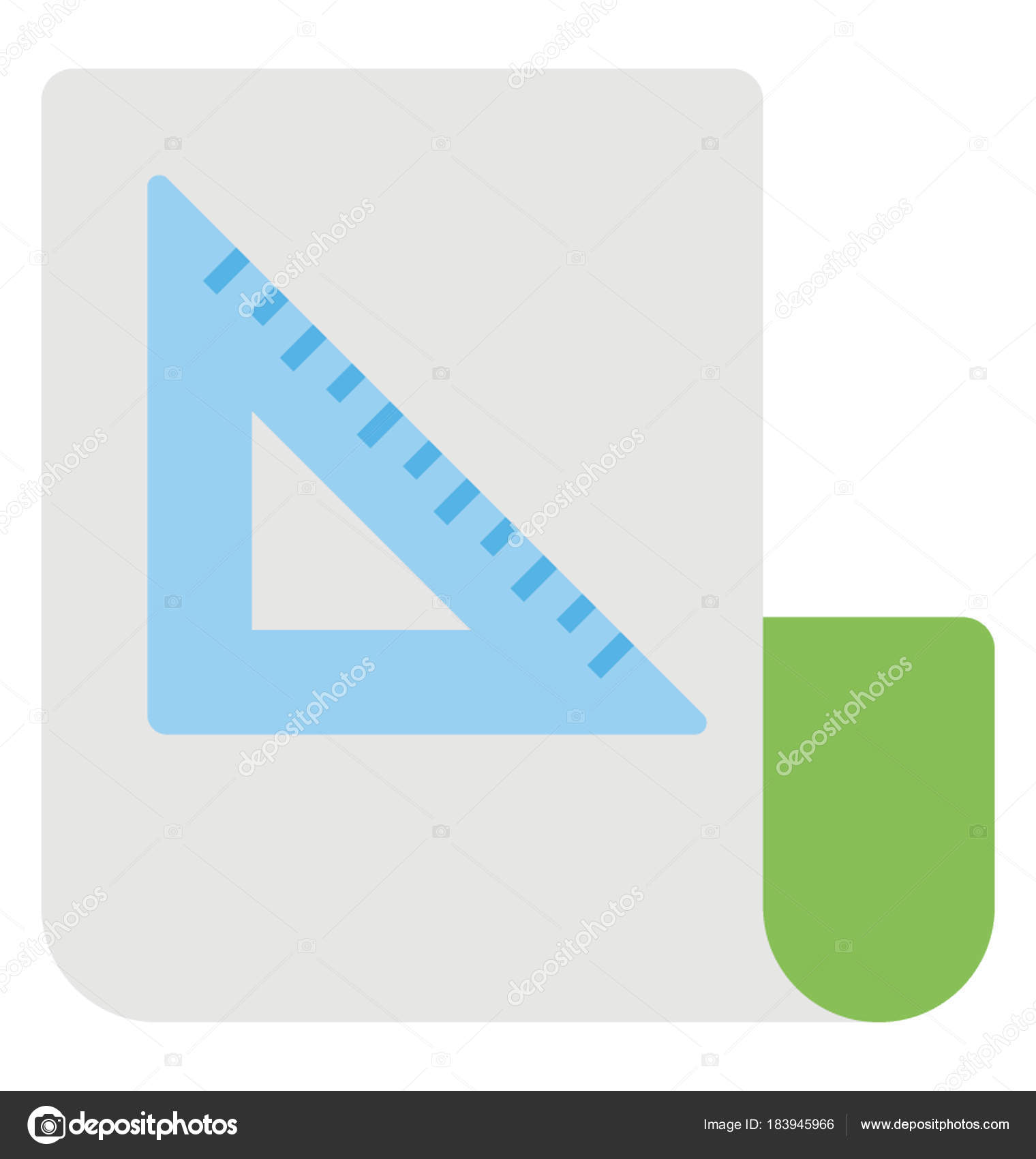 graph paper set square drafting icon vector flat design stock