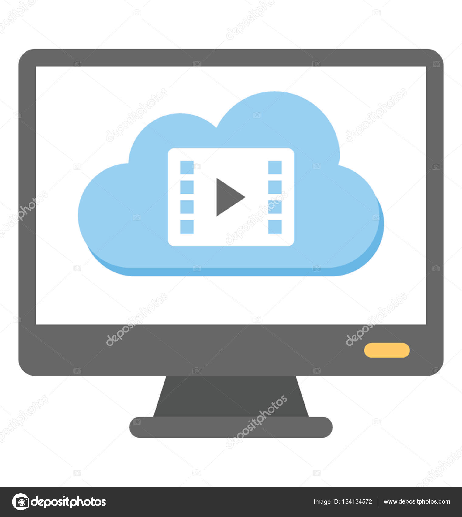 Computer Screen Cloud Video Vile Cloud Video Player Flat