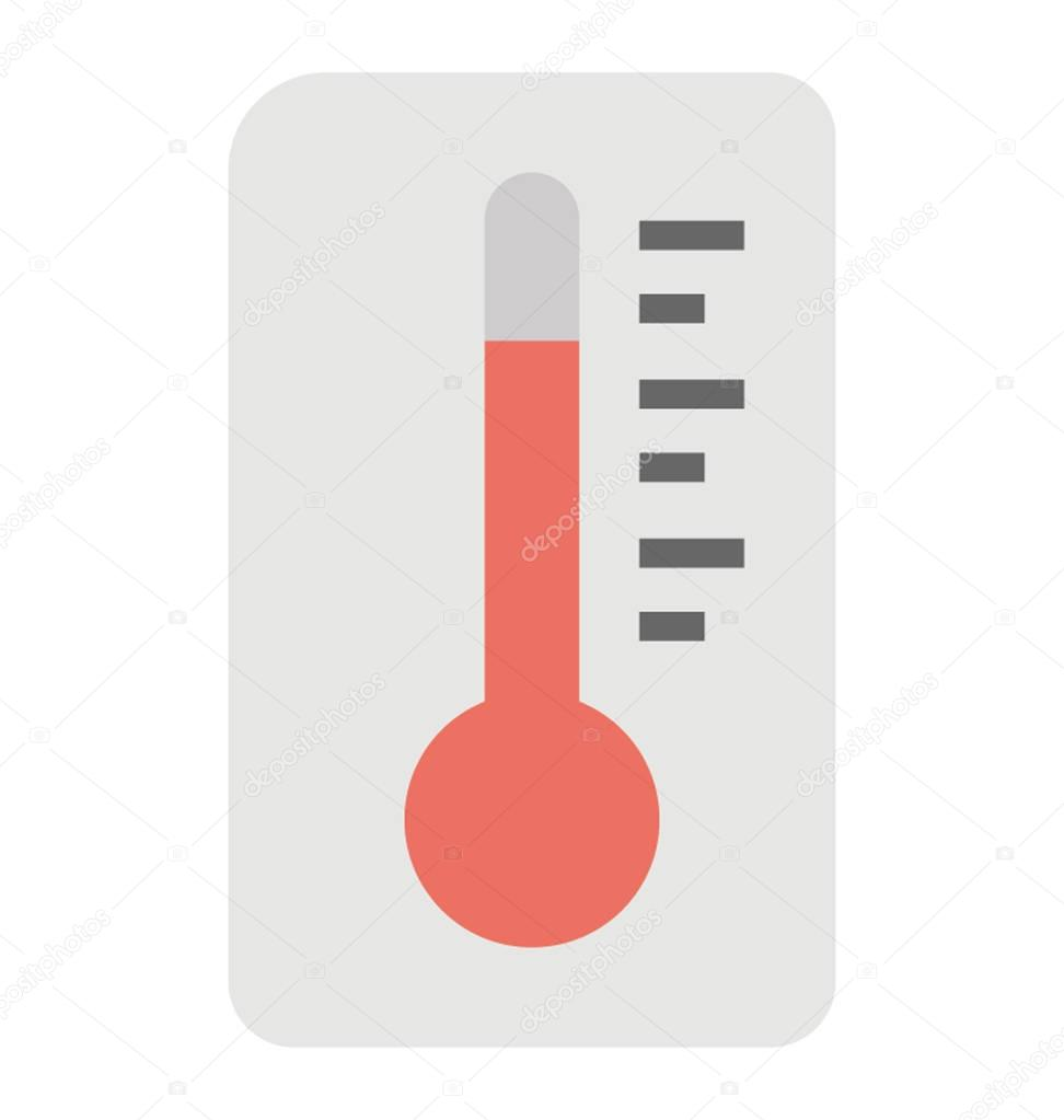 A weather thermometer indicating temperature, flat vector icon