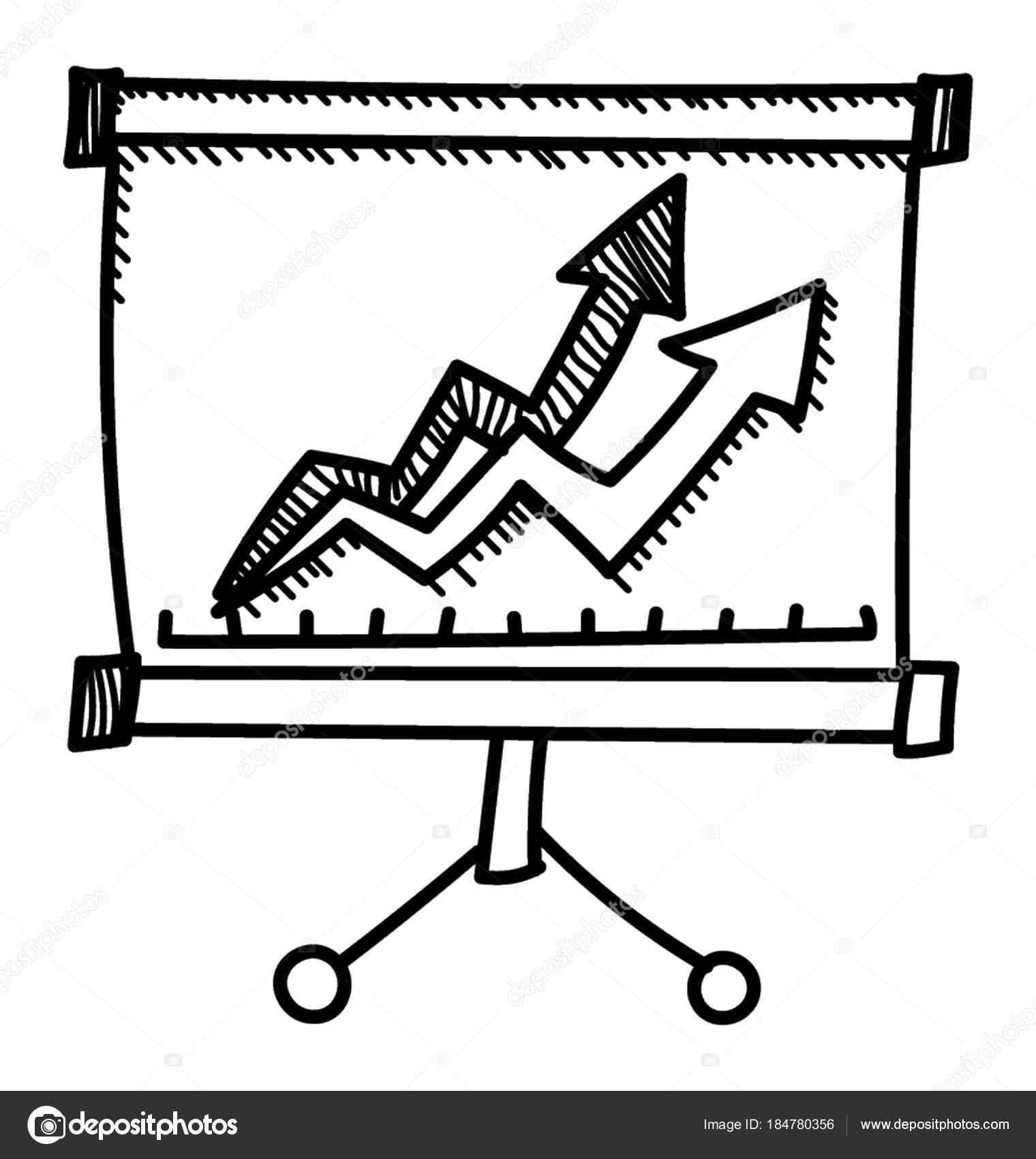presentation whiteboard market data statistics vector icon stock