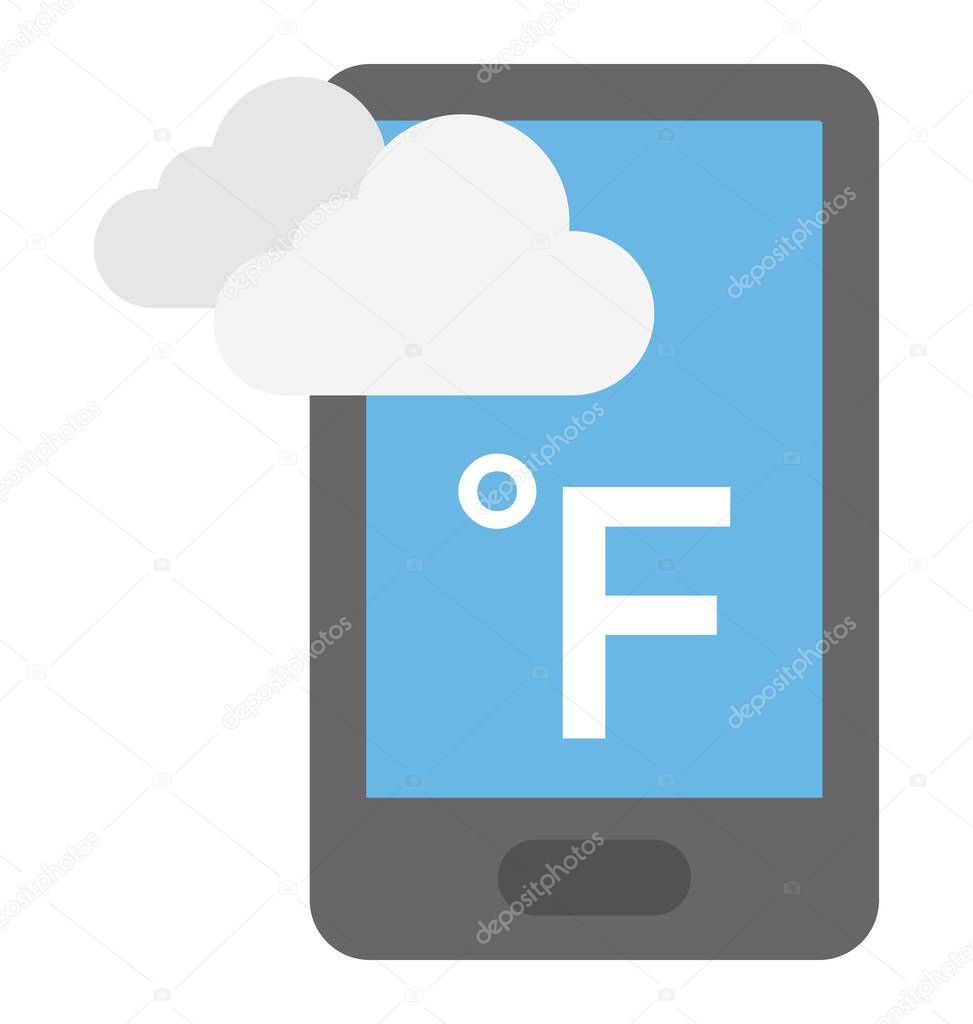 A smartphone with weather app showing weather condition in fahrenheit