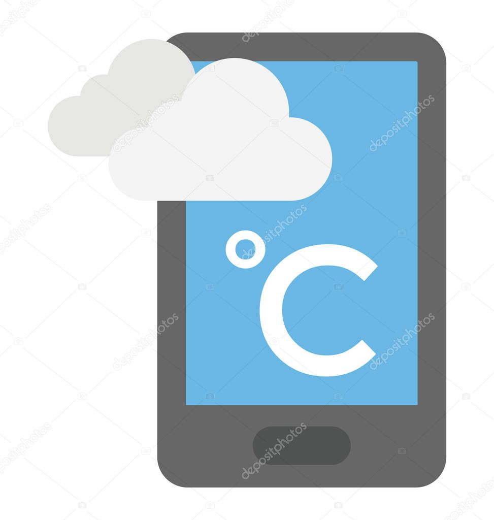 A smartphone with weather app showing weather condition in celsius