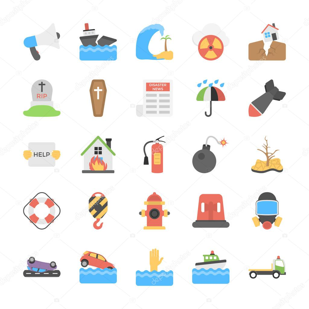 Disasters and Weather Conditions Flat Icons Pack