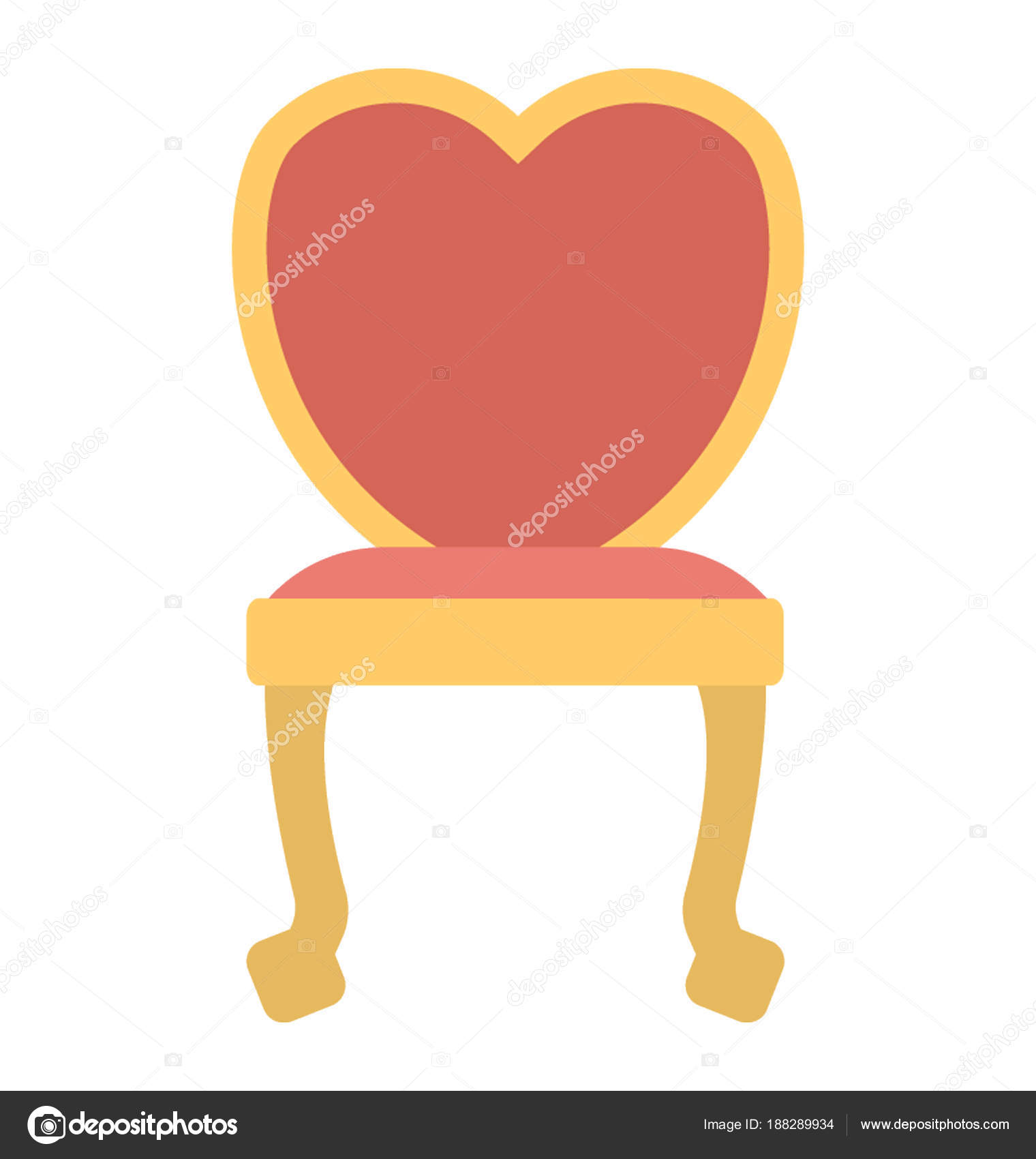 Wooden Chair Heart Shaped Backrest U2014 Stock Vector