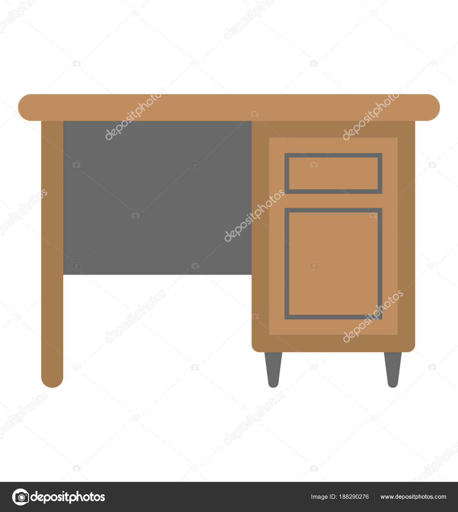 Study Desk Storage Drawers Stock Vector