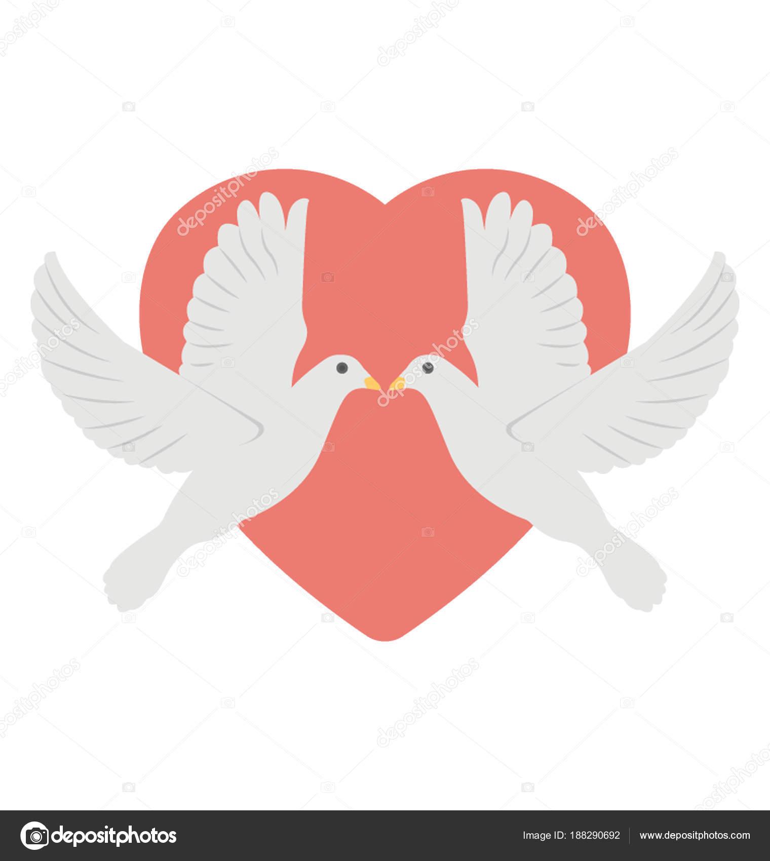 Two Loving Birds Front Red Heart Stock Vector Creativestall