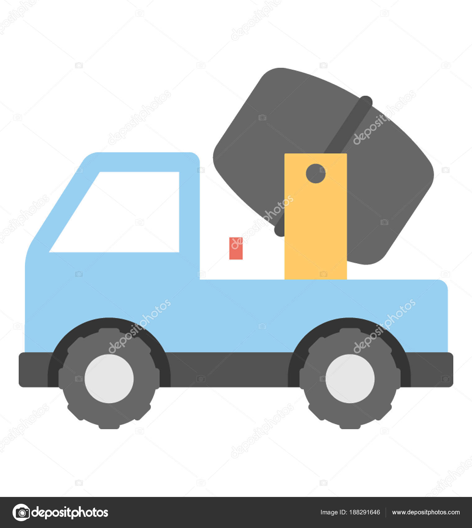 Flat Icon Design Concrete Buggy — Stock Vector