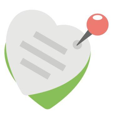 Thumbtack heart shape message notice