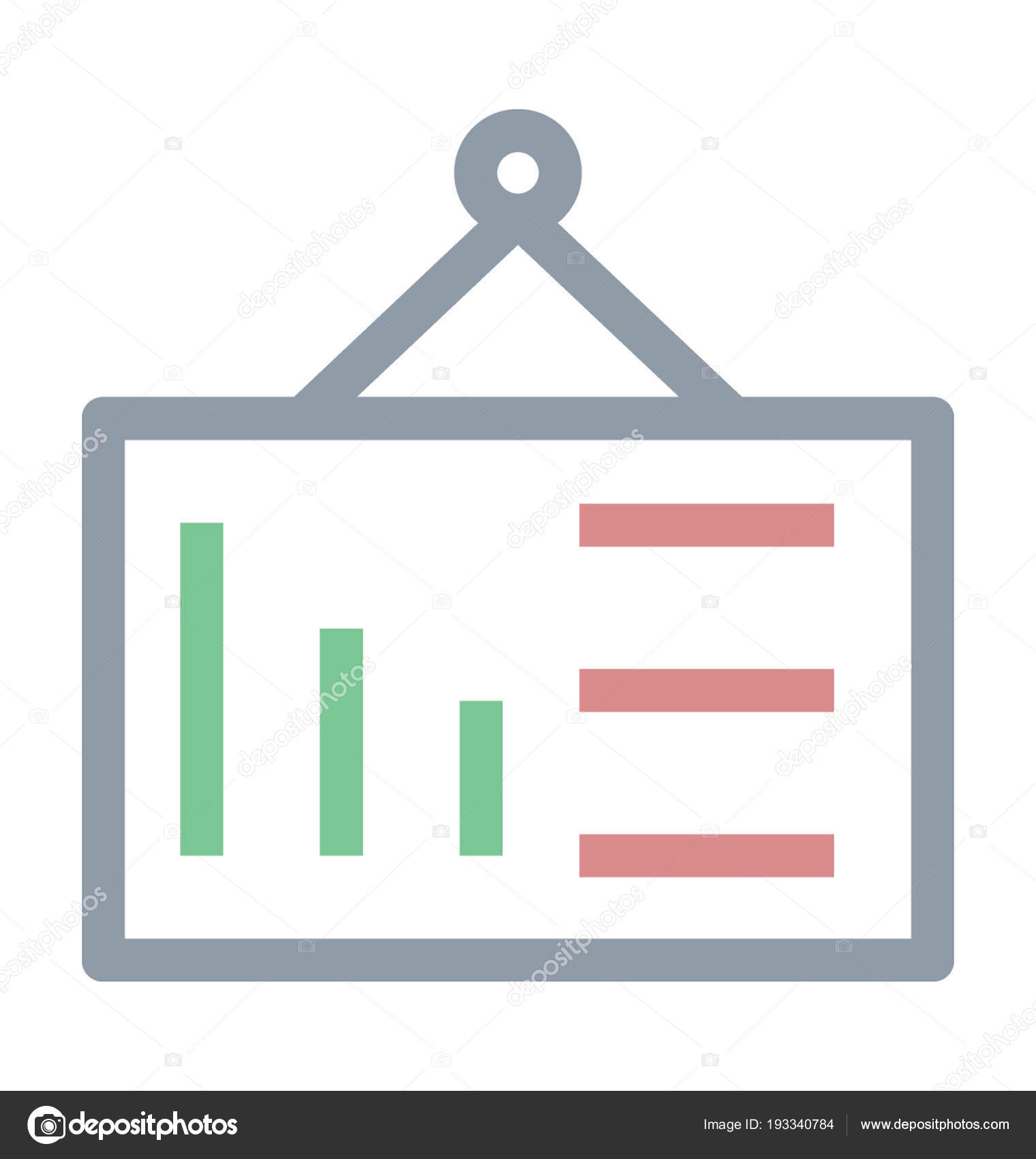 hanging chart colored line icon stock vector creativestall