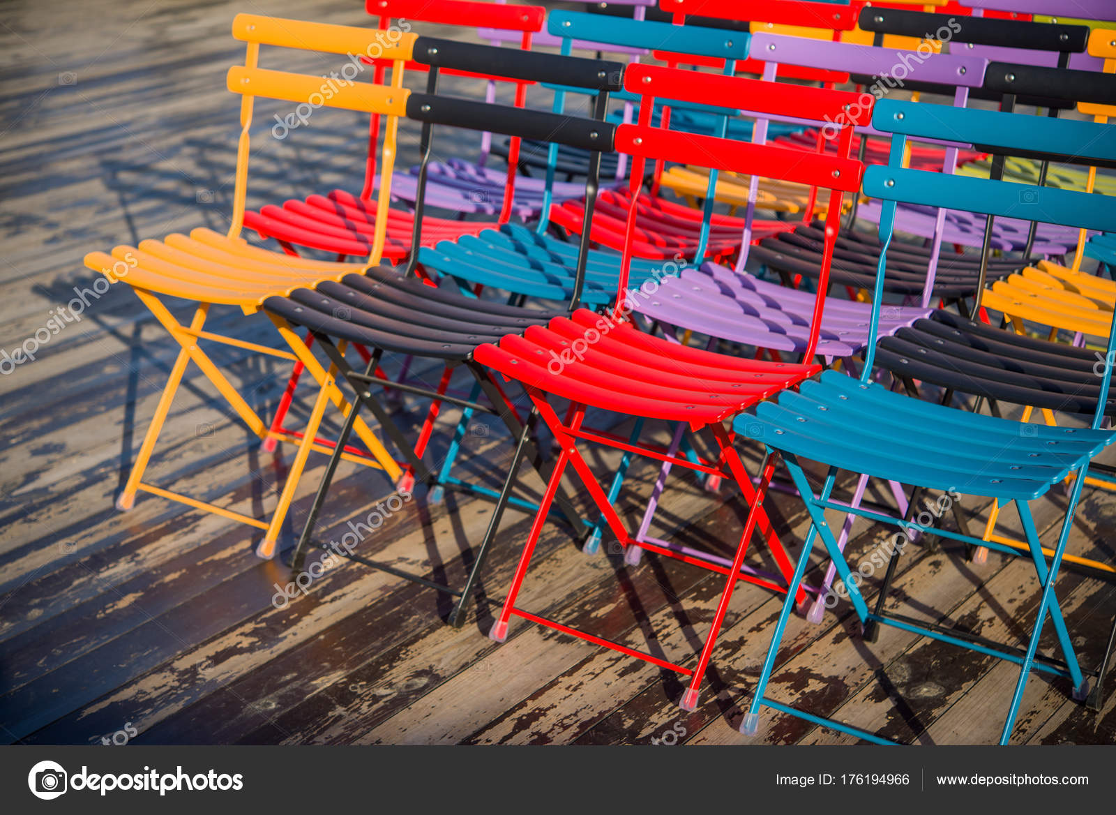 Colored Folding Chairs Seminar Training Open Wooden Terrace