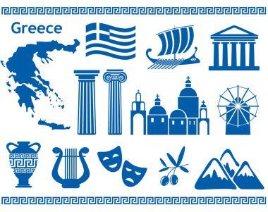 """Картина, постер, плакат, фотообои """"набор туристических икон греции """", артикул 145449001"""