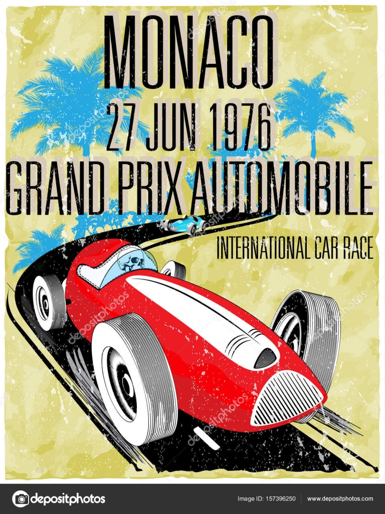 vintage race car for printing.vector old school race poster.retr ...