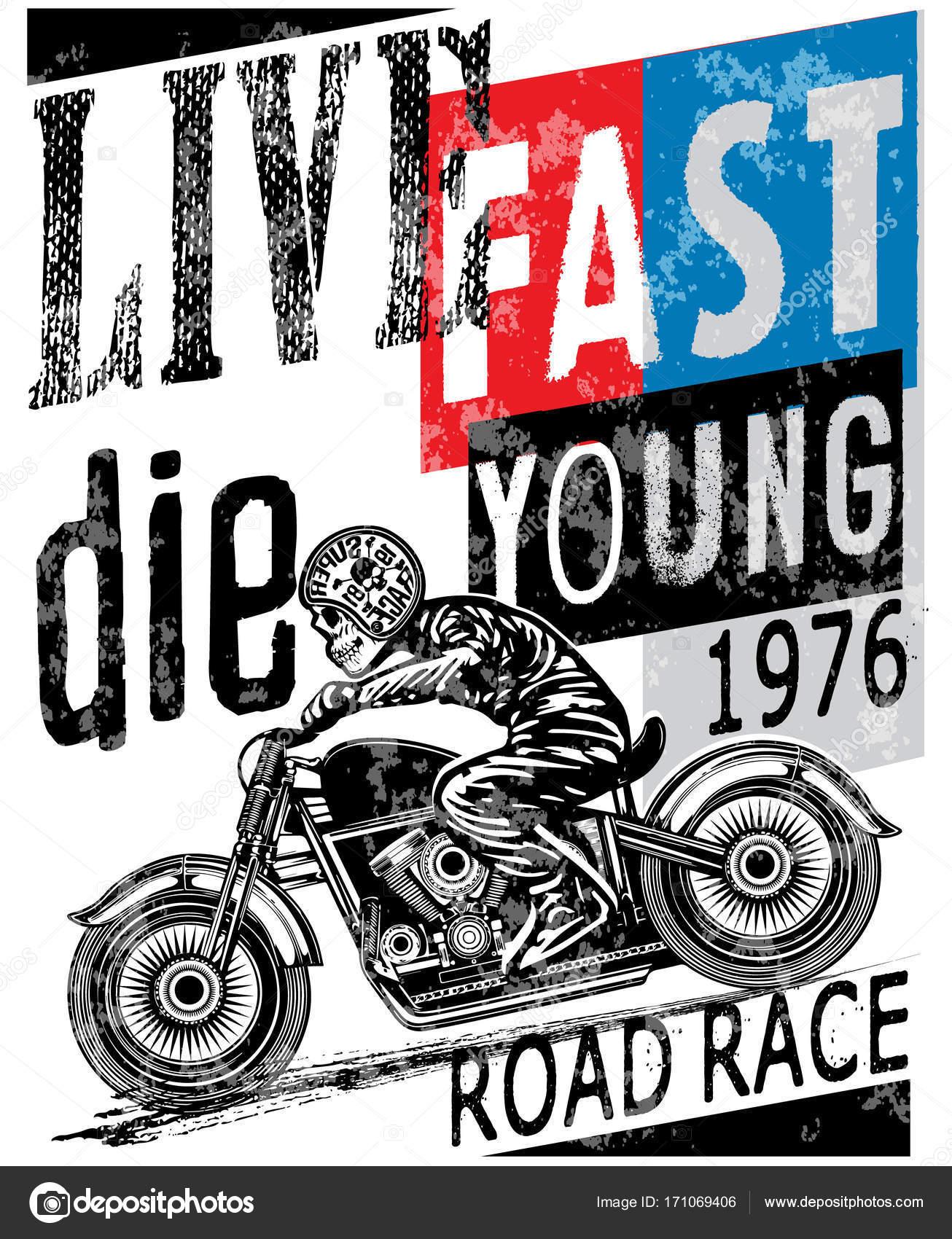 9edcd3de1 Vintage Motorcycle T-shirt Graphic — Stock Vector © emeget #171069406