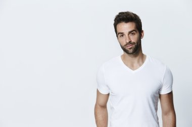 Handsome man in white t-shirt