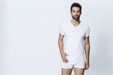 Handsome man in white underpants