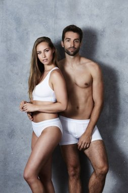 Stunning couple in white underwear