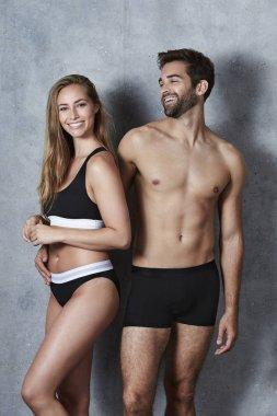 Beautiful couple in black underwear