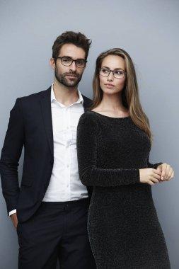 Couple in glamorous clothing