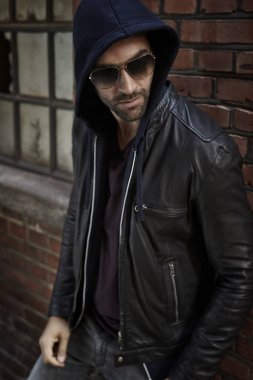 Cool man in leather jacket